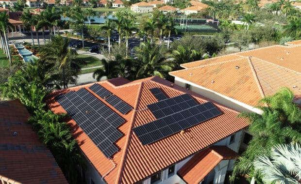 Solar panels on roof, courtesy of Goldin Solar